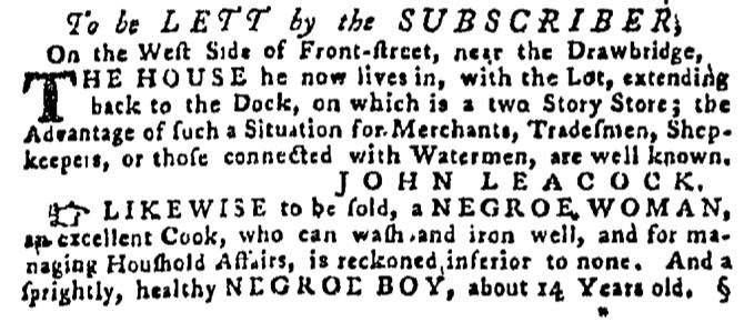 Sep 24 - Pennsylvania Gazette Supplement Slavery 1
