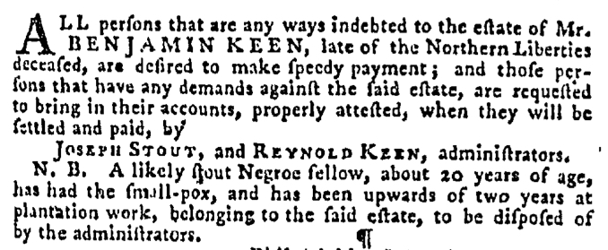 Sep 24 - Pennsylvania Gazette Supplement Slavery 2