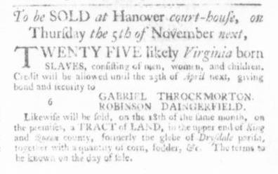 Sep 24 - Virginia Gazette Slavery 1