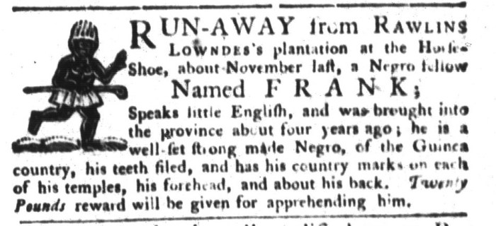 Sep 29 - South-Carolina Gazette and Country Journal Supplement Slavery 2