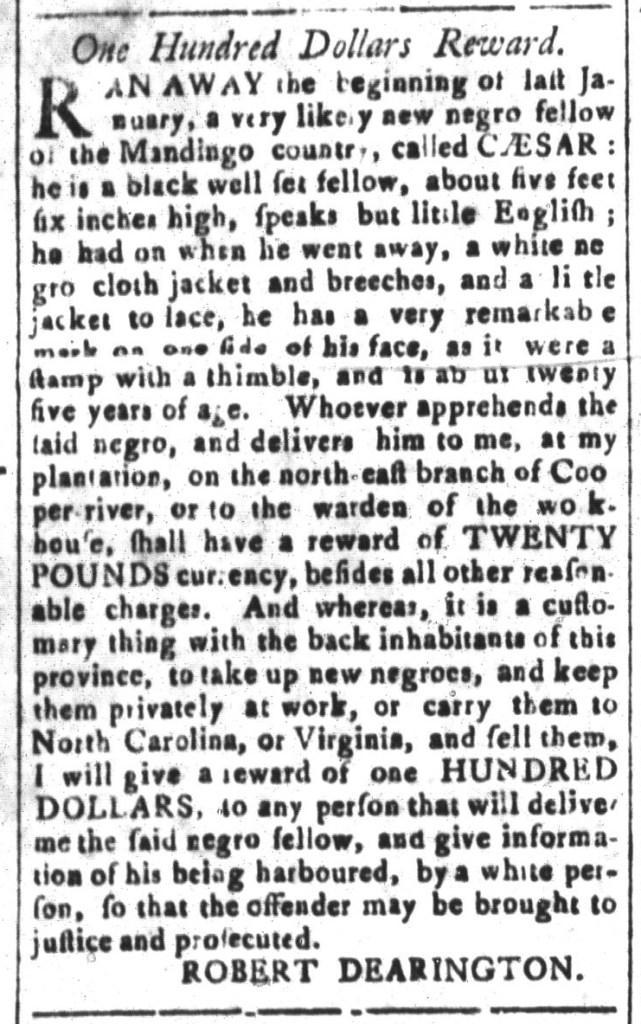 Nov 13 - South-Carolina and American General Gazette Slavery 8