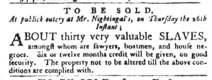 Nov 17 - South-Carolina Gazette and Country Journal Slavery 1