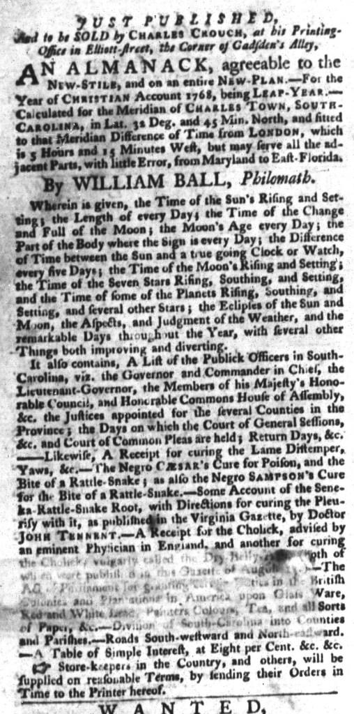 Nov 17 - South-Carolina Gazette and Country Journal Slavery 4