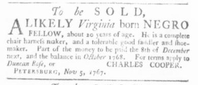Nov 5 - Virginia Gazette Slavery 1