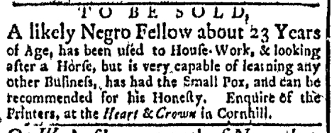 Nov 9 - Boston Evening-Post Slavery 1