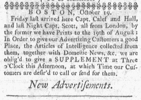 Oct 19 - 10:19:1767 Boston-Gazette
