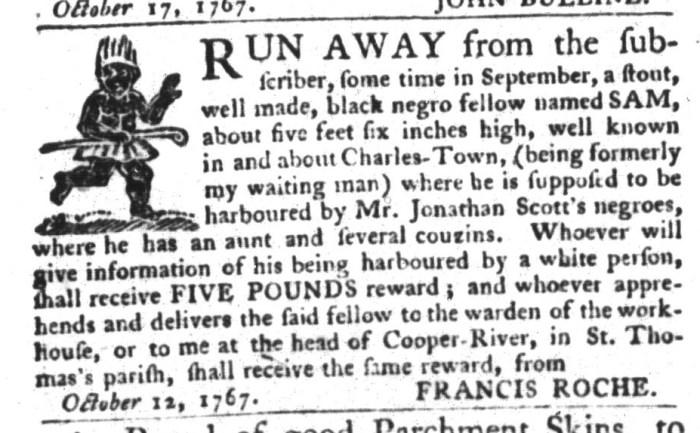 Oct 20 - South-Carolina Gazette and Country Journal Slavery 6