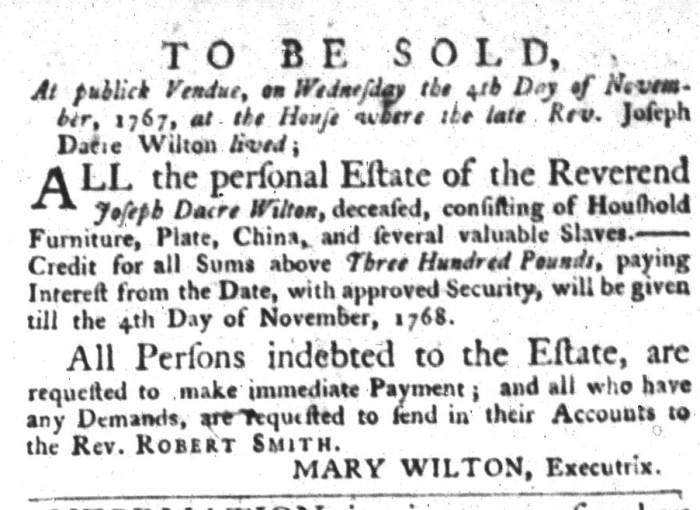 Oct 20 - South-Carolina Gazette and Country Journal Slavery 7