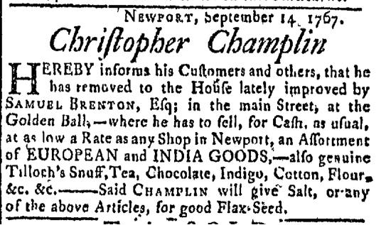 Oct 26 - 10:26:1767 Newport Mercury