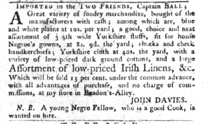 Oct 27 - South-Carolina Gazette and Country Journal Slavery 10