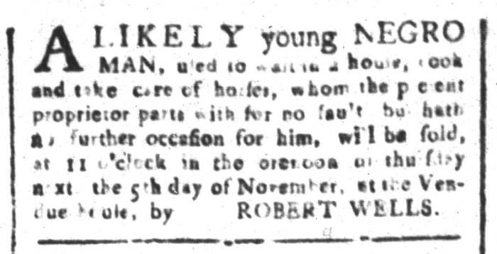 Oct 30 - South-Carolina and American General Gazette Slavery 1