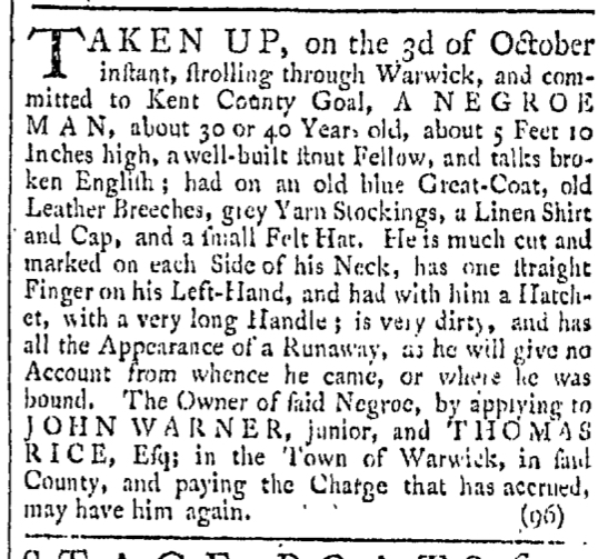 Oct 31 - Providence Gazette Slavery 1