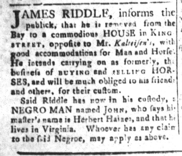 Dec 18 - South-Carolina and American General Gazette Slavery 10