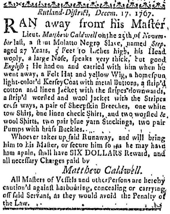 Dec 24 - Massachuestts Gazette Slavery 1