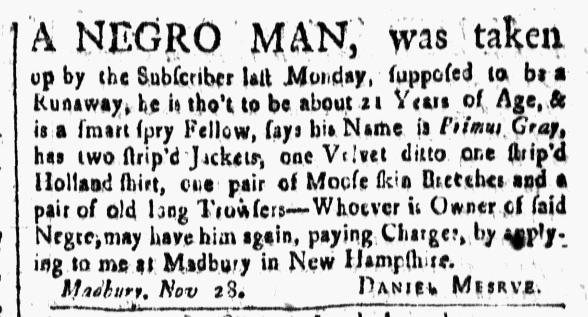 Dec 24 - New-Hampshire Gazette Slavery 1