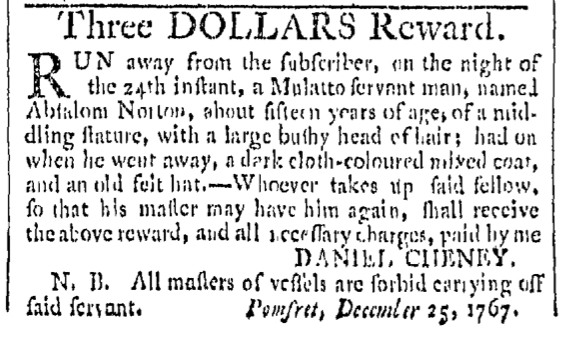 Dec 26 - Providence Gazette Slavery 1