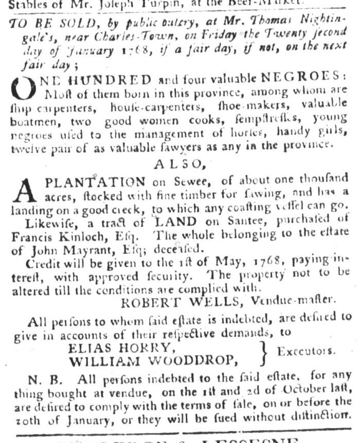 Dec 29 - South-Carolina Gazette and Country Journal Supplement Slavery 4