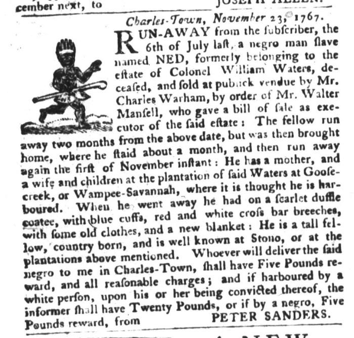 Dec 8 - South-Carolina Gazette and Country Journal Supplement Slavery 2