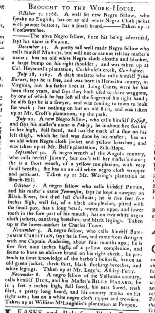 Dec 8 - South-Carolina Gazette and Country Journal Supplement Slavery 8