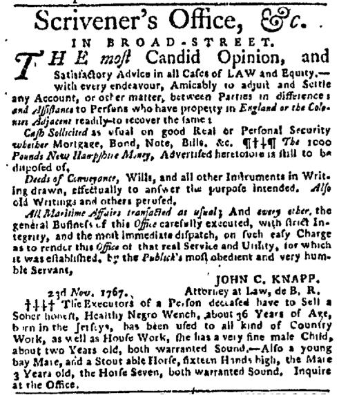Nov 23 - New-York Gazette Slavery 1