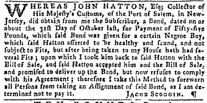 Nov 26 - Pennsylvania Gazette Slavery 1
