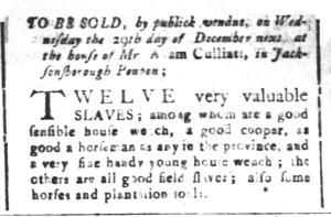 Nov 27 - South-Carolina and American General Gazette Slavery 5