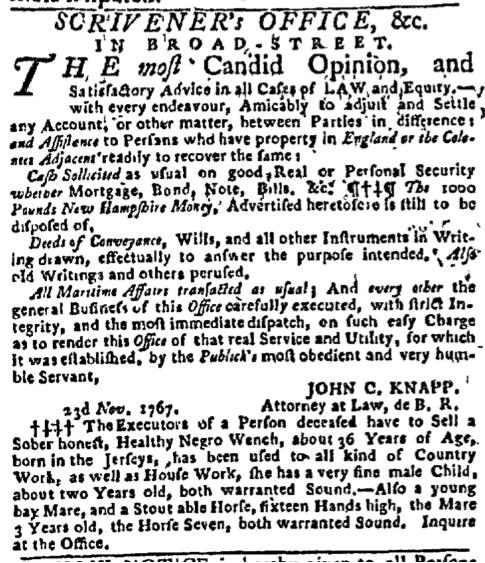 Nov 30 - New-York Gazette Slavery 3