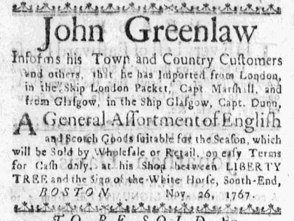 Dec 4 - 12:4:1767 Massachusetts Gazette.jpg