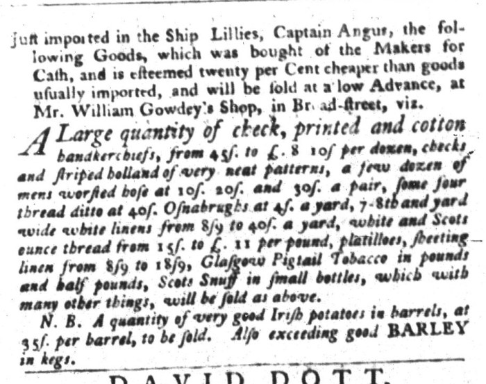 Dec 8 - 12:8:1767 South-Carolina Gazette and Country Journal Supplement
