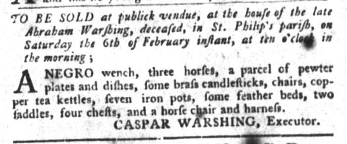 Feb 2 - South-Carolina Gazette and Country Journal Slavery 3