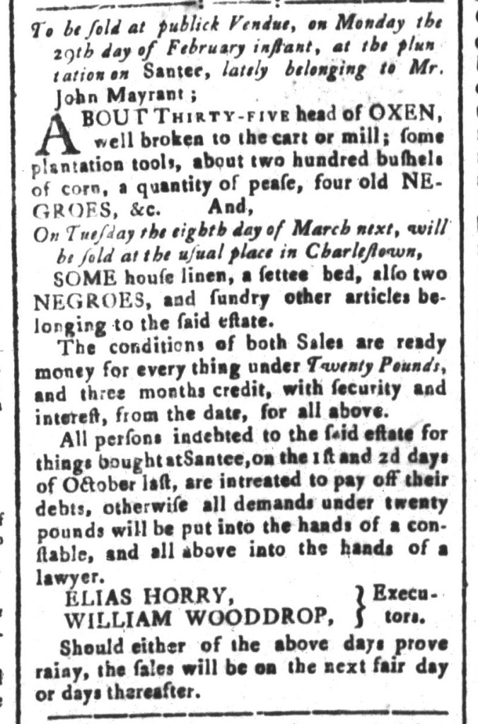 Feb 5 - South-Carolina and American General Gazette Slavery 2