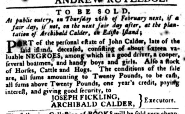 Jan 12 - South-Carolina Gazette and Country Journal Slavery 2