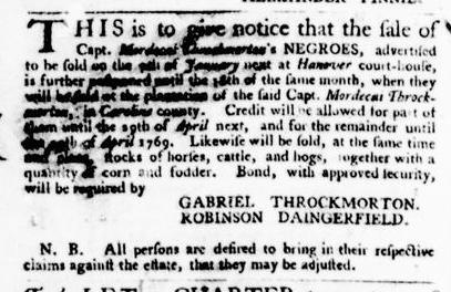 Jan 14 - Virginia Gazette Purdie and Dixon Slavery 1