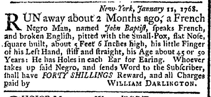 Jan 18 - New-York Gazette Weekly Post-Boy Slavery 1