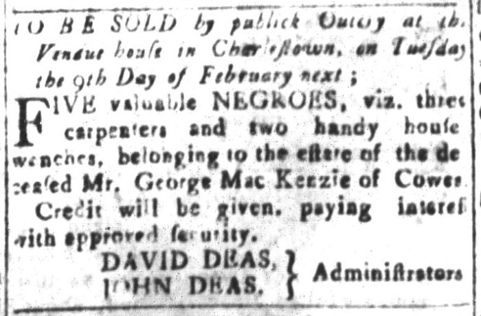 Jan 22 - South-Carolina and American General Gazette Slavery 10