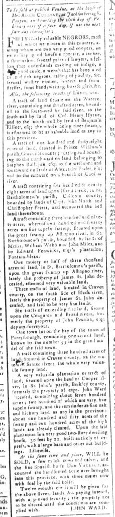 Jan 22 - South-Carolina and American General Gazette Slavery 4