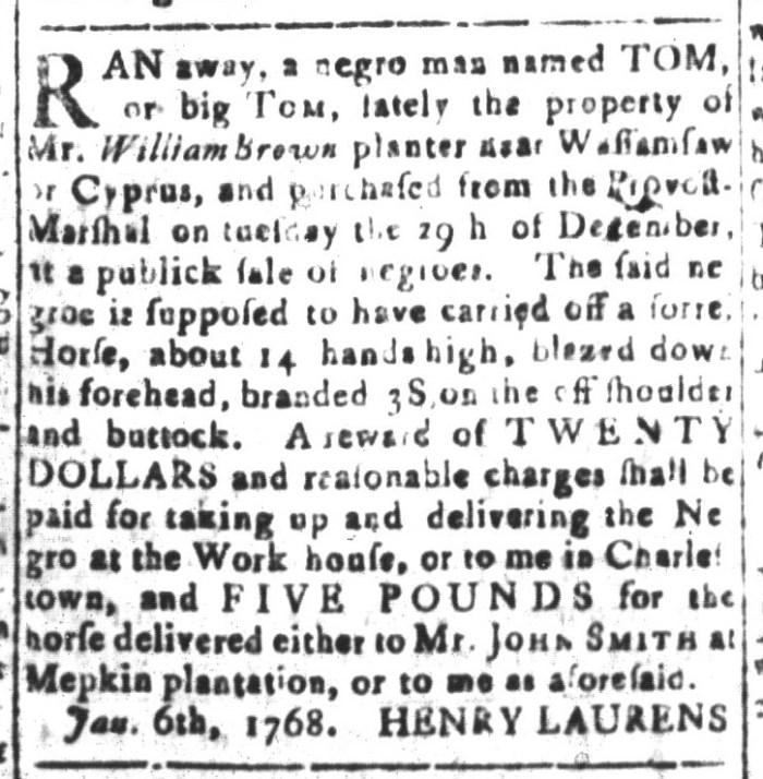 Jan 22 - South-Carolina and American General Gazette Slavery 6