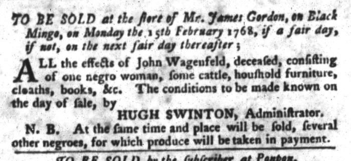 Jan 26 - South-Carolina Gazette and Country Journal Slavery 10