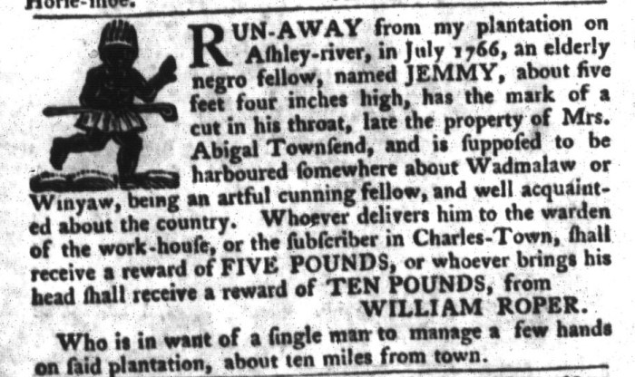Jan 26 - South-Carolina Gazette and Country Journal Slavery 13