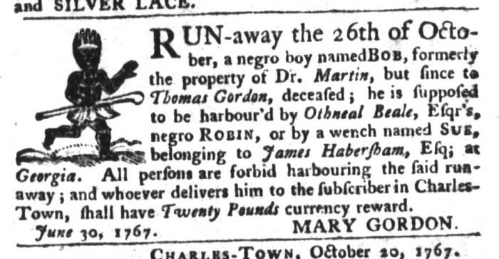 Jan 26 - South-Carolina Gazette and Country Journal Slavery 16