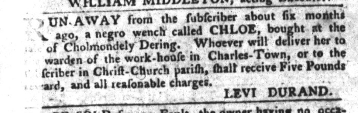 Jan 26 - South-Carolina Gazette and Country Journal Supplement Slavery 1