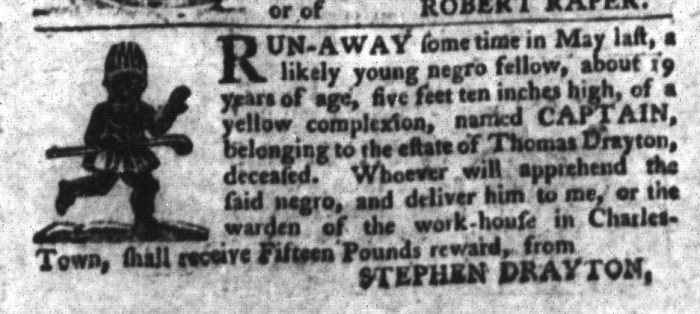 Jan 26 - South-Carolina Gazette and Country Journal Supplement Slavery 4