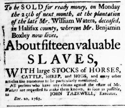 Jan 7 - Virginia Gazette Purdie and Dixon Slavery 3