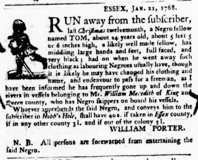 Feb 11 - Virginia Gazette Purdie and Dixon Slavery 8
