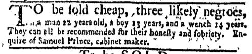 Feb 15 - New-York Gazette Weekly Mercury Slavery 1