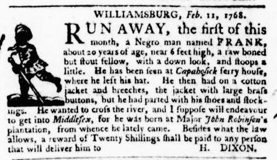 Feb 18 - Virginia Gazette Purdie and Dixon Slavery 4
