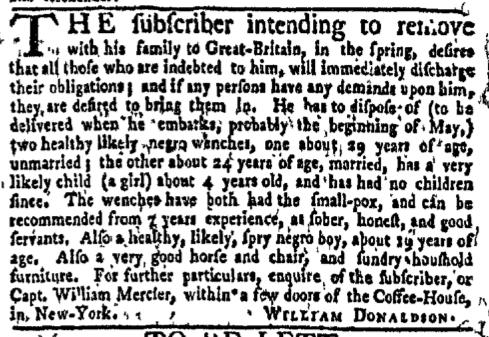 Feb 22 - New-York Gazette Weekly Mercury Supplement Slavery 2