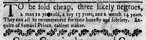 Feb 29 - New-York Gazette Weekly Mercury Supplement Slavery 2