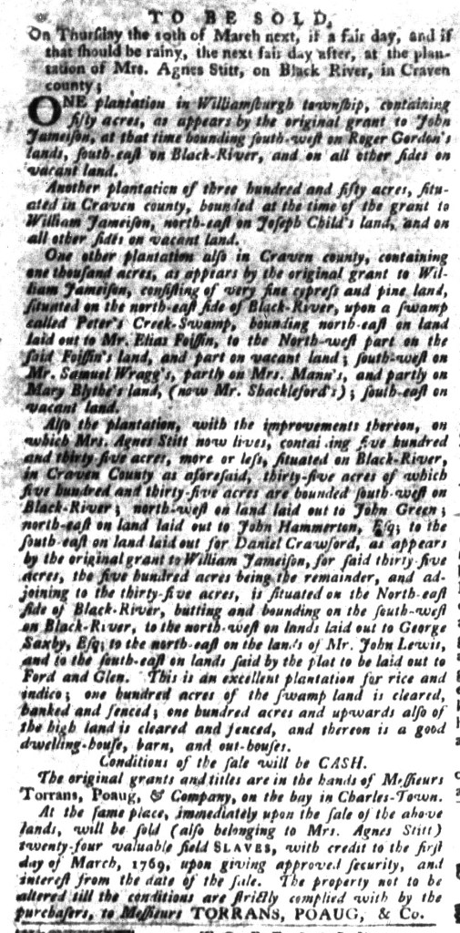 Mar 1 - South-Carolina Gazette and Country Journal Supplement Slavery 5