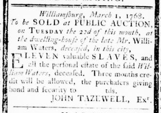 Mar 3 - Virginia Gazette Rind Slavery 1